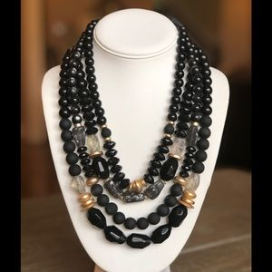 NWT Chico's Beaded Black & Gold Layered Necklace